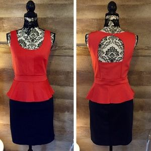 Dresses & Skirts - NWT Coral & Navy Open Back Peplum Dress